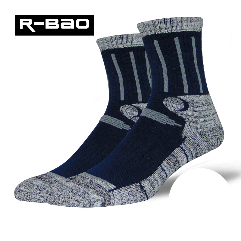 R-Bao Brand Men Outdoor Hiking Socks Quick Dry Cotton Trekking Mountaineering Male Sports Sock Professional Skiing Socks W04