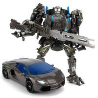 Black Lockdown Metal Transformation Robot to Car Transform Toys Boys Develop DIY Toys Xmas Gift