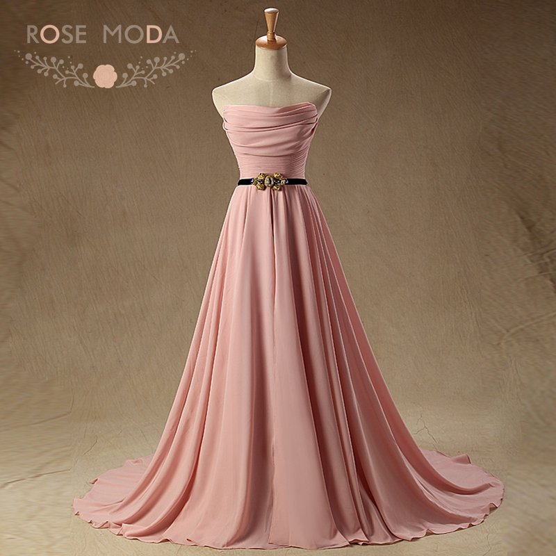 Rose Moda Strapless Blush Pink   Evening     Dress   with Crystal Sash Long Formal Party   Dresses   for Xmas 2019