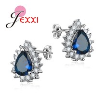 JEXXI 5 Colors Luxury Water Drop Crstal Wedding Stud Earring For Women Fashion Rhinestone Silver Earring Wholesale Bands Jewelry