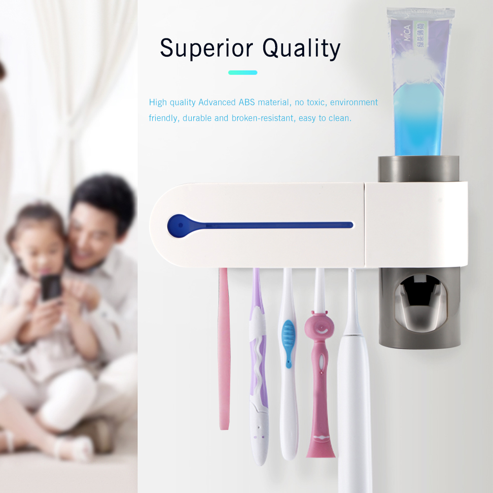 Antibacteria UV Light Ultraviolet Toothbrush Sterilizer Automatic Toothpaste Dispenser Tooth Brush Holder Oral Hygiene Cleaner