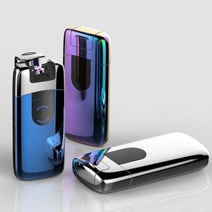 Image 4 - Mechero USB de doble arco con pantalla LED, mechero electrónico recargable, accesorio de cigarrillo, Mechero con truenos de pulso Palse de inducción de Plasma