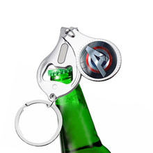 2019 new Iron Man Necklace Tony Stark Arc Reactor Nail clipper bottle opener keychain Glass Cabochon Pendant The Avengers 4(China)
