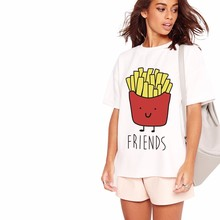 YEASERO H706 2016 Fashion Brand Summer T Shirt Women Tumblr Tees Hamburg French Fries Printed Funny Best Friends T Shirts