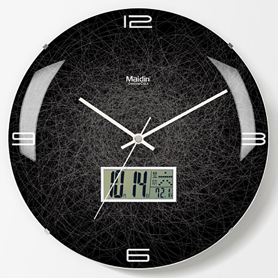 Art Black Living Room Wall Clock Lcd Creative Silent Large ...