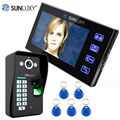 "SUNLUXY 7"" TFT Color Video Door Phone Doorbell Video Intercom with Fingerprint Recognition 5 Touch Key Fobs Access Control Kits"