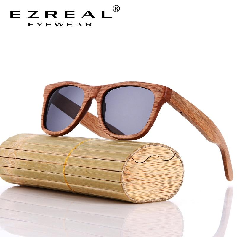 EZREAL Houten zonnebril Bamboe merk zonnebril Vintage Wood Case Beach gepolariseerde zonnebril voor het rijden gafas de sol