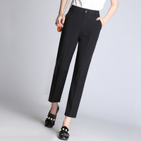 Women Summer Casual Pants 2017 Fashion Pure Black High Waist Slim Fit Tiny Wide Leg Ankle