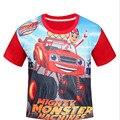 2016 Meninos do Verão 3D Chama Monstro MachinesT camisa Crianças Camisas Roupas 3-10Y Crianças Bebê Camisetas Crianças Encabeça Tee Esportes
