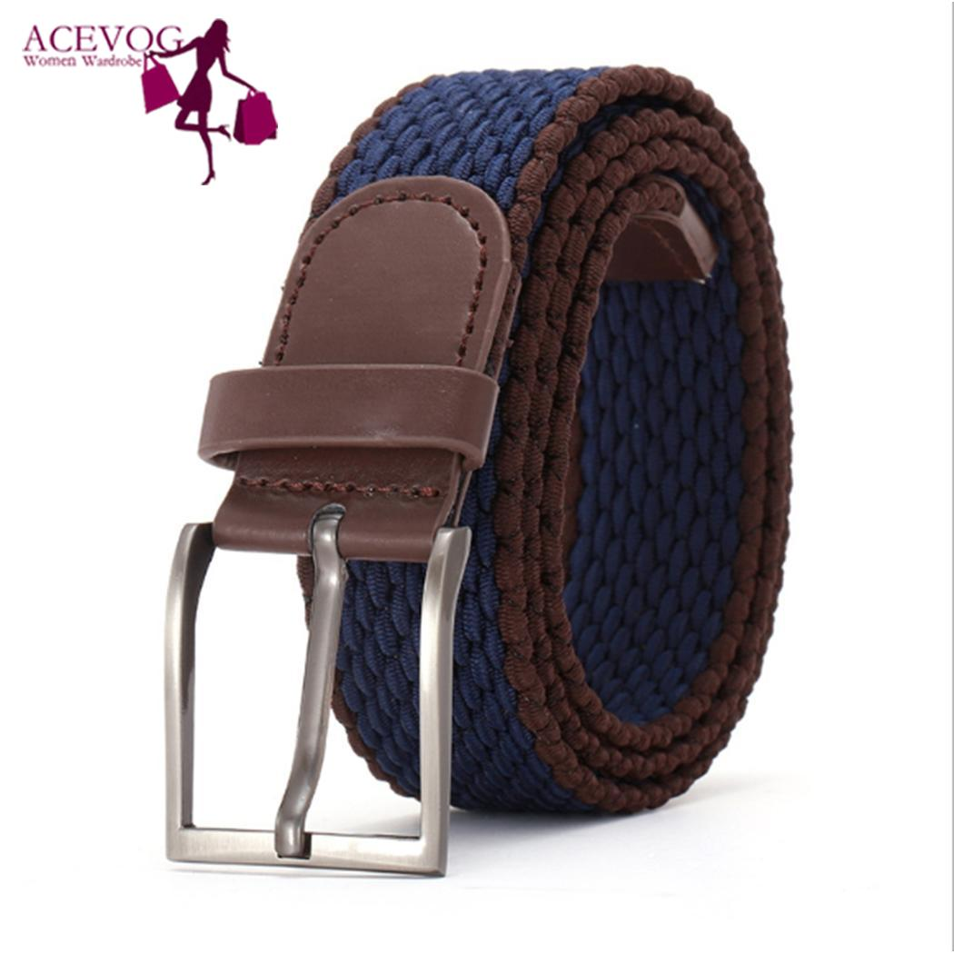 Unisex New Elastic Waistband Woven Canvas Belt with Canvas, Alloy Pin Buckle 100-135cm/39.4-53.1inch Casual