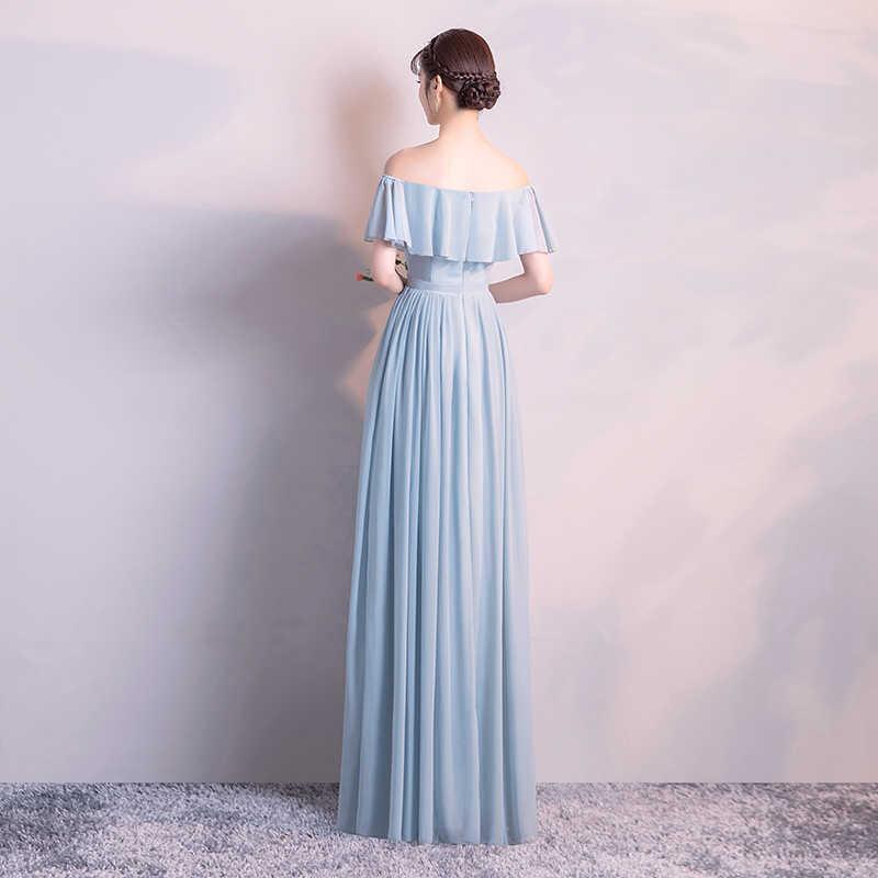 Bellezza Emily Elegante Chiffon blu Grigio Abiti Da Damigella D'onore Lunga 2020 Più Il Formato per le Donne Del Partito Convenzionale di Promenade Del Partito Abiti