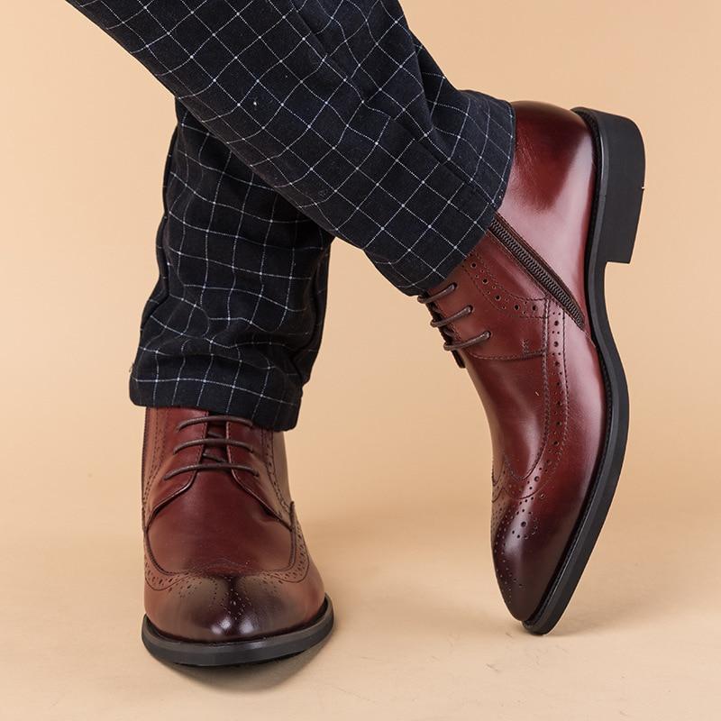 Deserto Preto Chelsea Sapatos Os Com Retrô Boots Homens Do vermelho Aço Todos Couro High Top Outono De Botas Biqueira Genuíno Inverno Jogo Vinho Britânico Masculino aBafqw