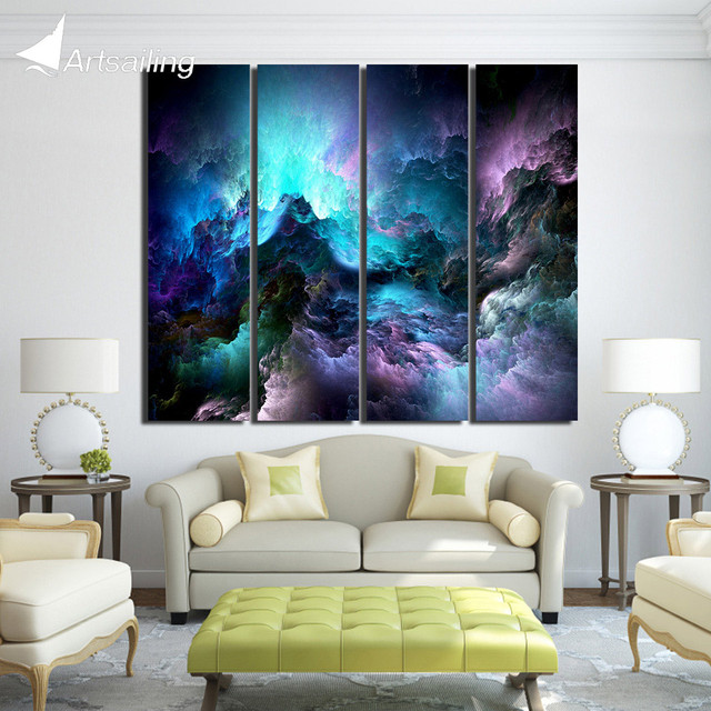4 piece Printed abstract purple clouds space wonders Painting Canvas ...
