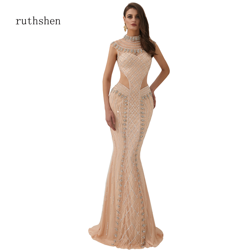 Sexy Sheer Mermaid   Prom     Dresses   Chiffon Sparkling Rhinestone Handwork Glitte High Collar Dubai Muslim Party Pageant   Dresses
