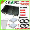 New Mobile Booster Tri band 850 1800 2100 MHz CDMA GSM 3G WCDMA Repeater ALC/MGC Cell Phone Signal Repeater Booster amplfier