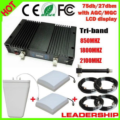 New Mobile Booster Tri band <font><b>850</b></font> 1800 <font><b>2100</b></font> MHz CDMA GSM 3G WCDMA Repeater ALC/MGC Cell Phone Signal Repeater Booster amplfier image