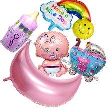 5 Styles Baby Girl Birthday Decoration Foil Balloons Baby Milk Baby Girl Car Balloons Girl 1