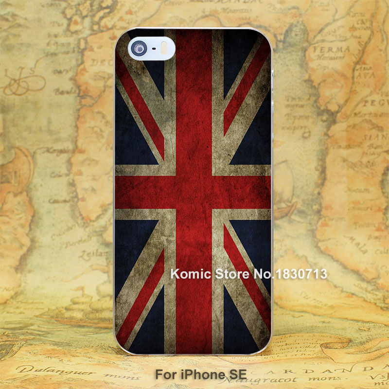 England Flag hard transparent clear Cover Case for iPhone SE 4 4s 5 5s 5c 6 6s Plus
