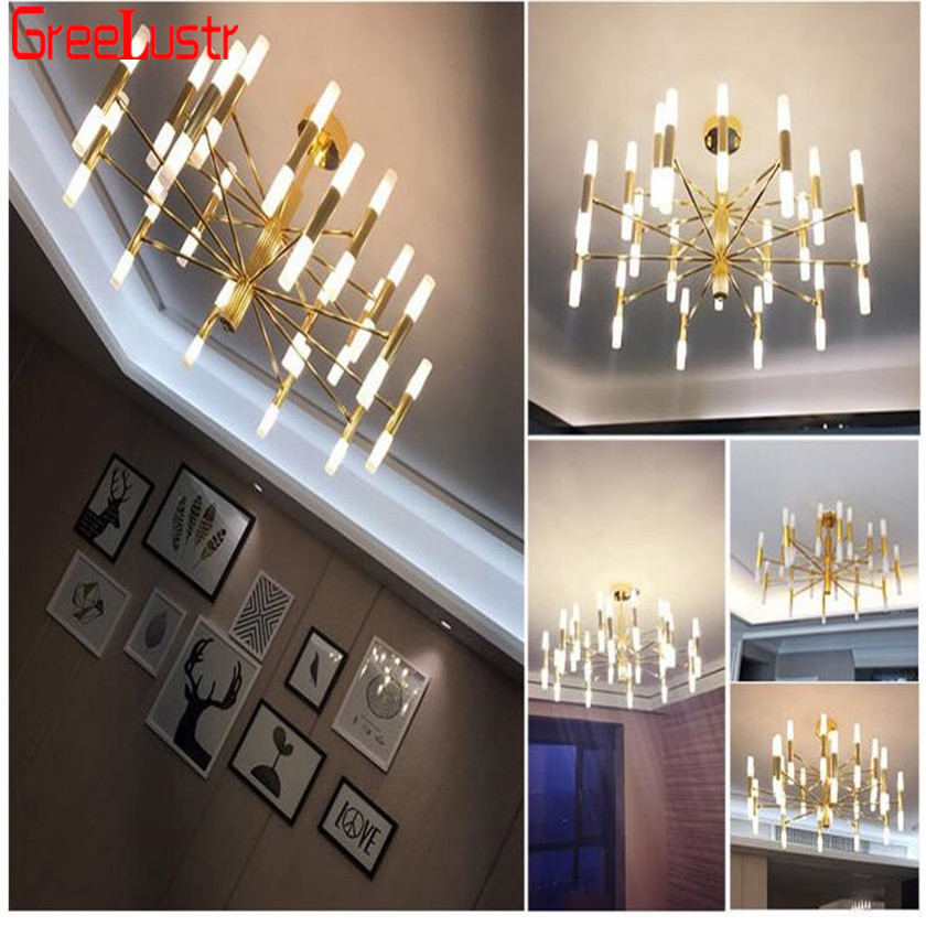 Minimalist Gold led Chandeliers lamp Hotel Hall Chandelier Ceiling Lamp Lustres Para Sala Lampadario Candelabro LED Luminarias