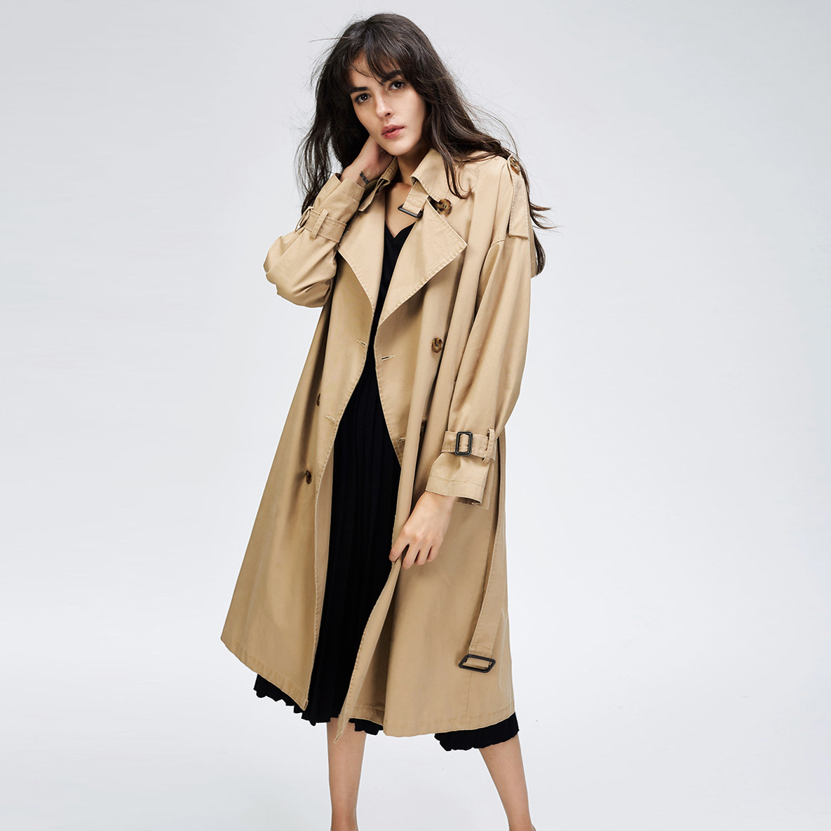 JAZZEVAR 2019 Autumn New Women s Casual trench coat oversize Double Breasted Vintage Washed Outwear Loose