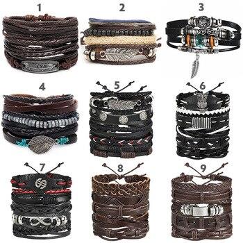 Vintage Leaf Feather Multilayer Leather Braided Bracelet Men Fashion 2
