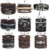 IF ME Vintage Leaf Feather Multilayer Leather Bracelet Men Fashion Braided Handmade Star Rope Wrap Bracelets & Bangles Male Gift 8