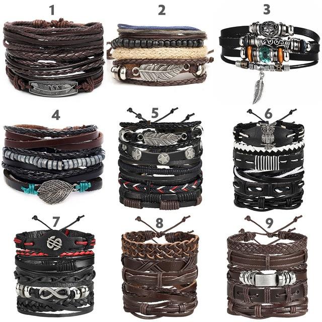IF ME Vintage Leaf Feather Multilayer Leather Bracelet Men Fashion Braided Handmade Star Rope Wrap Bracelets & Bangles Male Gift 3