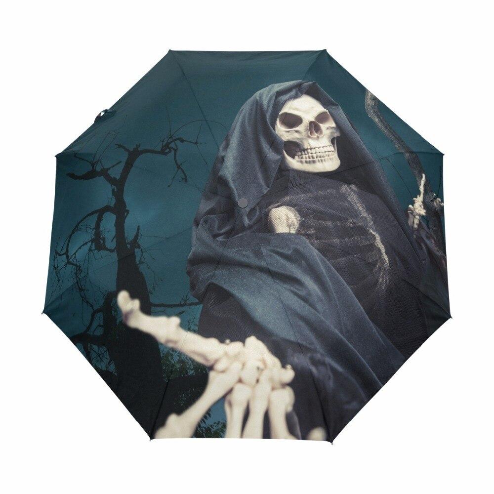 Mens Automatic Black Umbrella Death Angel 3 Opvouwbare reisparaplu - Huishouden