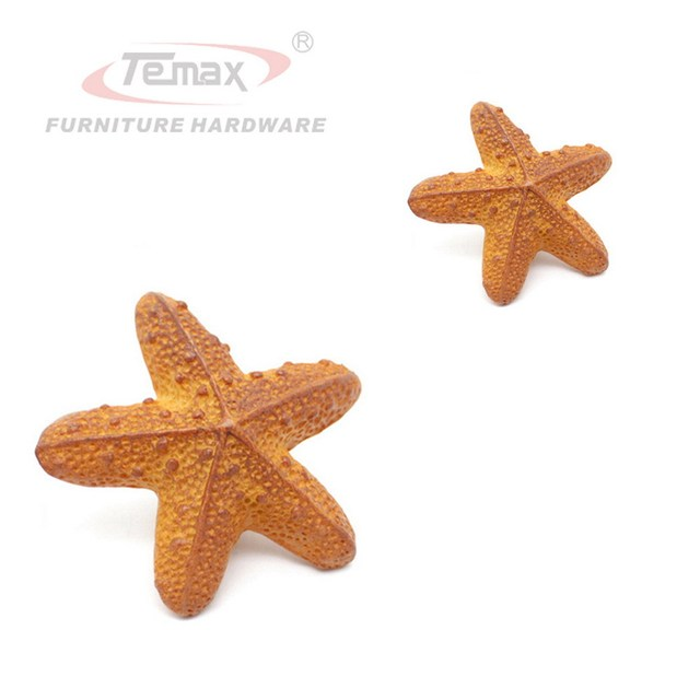 Orange Starfish Kids Drawer Pull Knobs Cabinet Handles Children Door ...