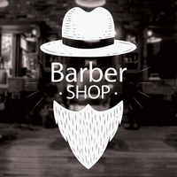 Hot Men Barbershop Sign Wall Stickers Mural Barber Shop Logo Sticker Window Decal Decor  For Hair Salon Removable 3W12