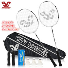 Badminton Set 2Pcs Strung Badminton Racket Professional Carbon Badminton Racquet 26-28 LBS With Free Bag And 3 Badmintons цена