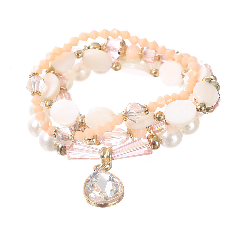 Women Bohemian Bracelets Multilayer Simulated Pearl Beaded Trendy Alloy Drop Pendant Bracelet Jewelry Gift