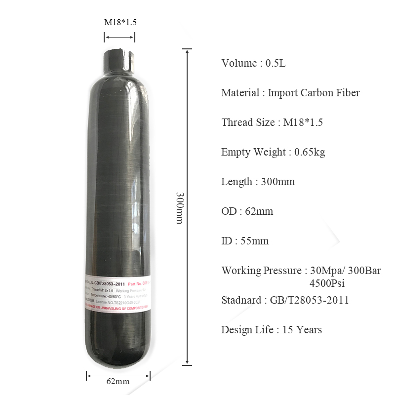 AC3050 High Pressure Cylinder 0.5L Diving Bottle Co2 Paintballing Airgun Rifle Rifle Compressed Air Hunting Scuba 4500 Psi Tank