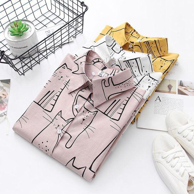 Cute Cat Print Loose Casual Ladies Blosues Tops Women Turn Down Collar Long Sleeve Shirt Blouse Femme 2