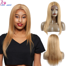 Kiss Mee Blonde Human Hair Lace Front Wig Short Straight Bob Human Hair Wig 150 Density Brazlian Hair Remy Wig For Black Women