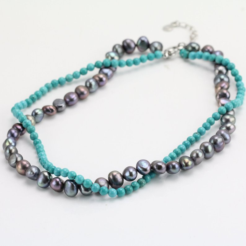 Unique Pearls jewellery Store,18inches Blue Turquoises Black Real Freshwater Pearls Necklace,Charming Women Gift BridesmaidUnique Pearls jewellery Store,18inches Blue Turquoises Black Real Freshwater Pearls Necklace,Charming Women Gift Bridesmaid