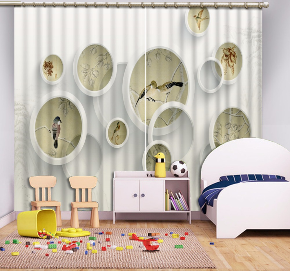 High Quality Costom 3D Curtain White Curtains Depicting Birds Circle Bed Room Living Room Office Hotel CortinasHigh Quality Costom 3D Curtain White Curtains Depicting Birds Circle Bed Room Living Room Office Hotel Cortinas