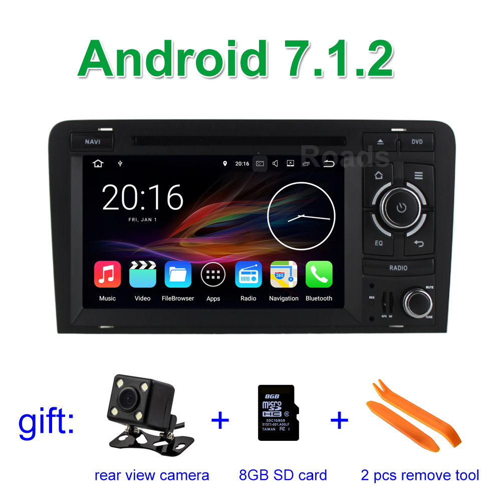 2 ГБ Оперативная память Android 7.1.2 dvd плеер мультимедиа для Audi A3 2002 2013 с Canbus Bluetooth WI FI GPS навигации Радио