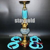 Glass Hookah luxurious chicha four hoses big size ceramic bowl glass base water pipe nargile narguile smoking complete shisha