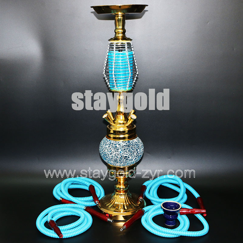 Hookah  luxurious rechargeable LED blinking chicha four hoses big size ceramic bowl glass base water pipe nargile free shipping