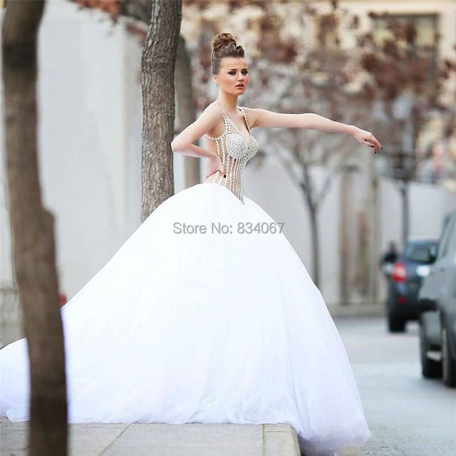 Sheer Back Sexy V Neck Crystals Wedding Dress 2017 Ball Gown Long Bridal Gowns