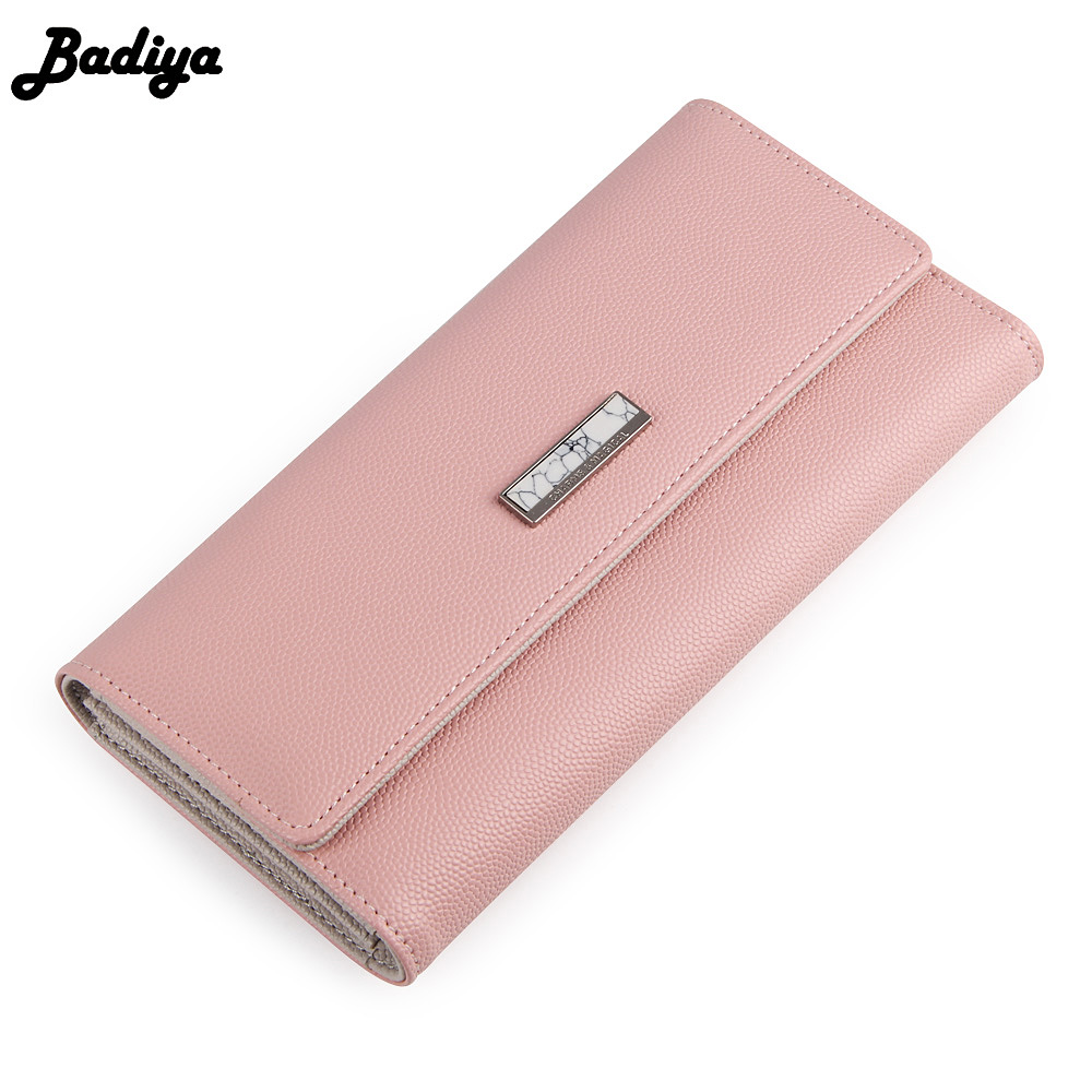 Badiya Trifold Hasp Fashion Women Long Wallet Stone Pattern Sign Ladies Clutch Full PU Leather Card Holder Bag Purse Phone casual weaving design card holder handbag hasp wallet for women