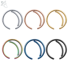 ZS 6 Pcs/lot Moon Shape Stainless Steel Nose Rings Nostril Piercings Septum Clicker Indian Ring Body Piercing Jewelry