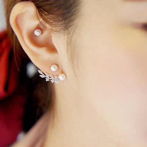 Charming เครื่องประดับดีน่ารักสาวอินเทรนด์ 925 Sterling Silver Leaf Shape Pearl Dangle ต่างหูสำหรับผู้หญิง