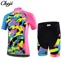 New Cheji Kids Cycling Jersey Suit Colorful Printing Children Bike Clothing Pro Bicycle Clothes Comfortable Nice