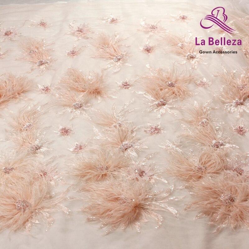 La Belleza nouveau 1 yard rose clair/blanc cassé lourd 3D fleurs plume perlée cristal mariage/soirée robe dentelle tissu-in Dentelle from Maison & Animalerie    2