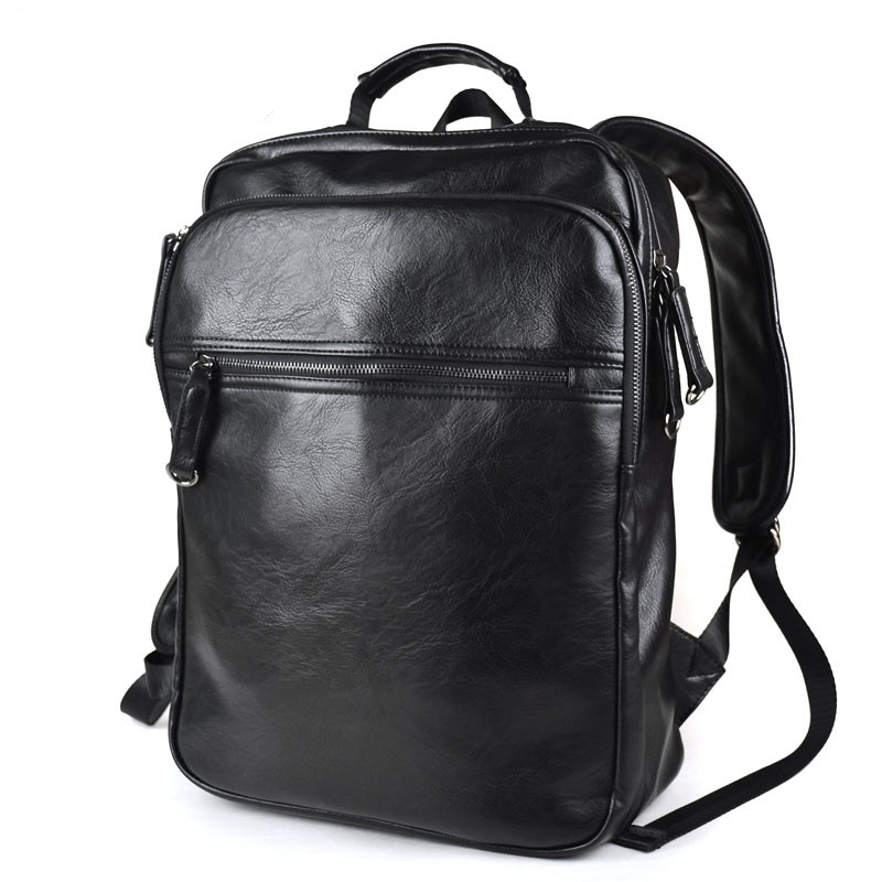 ФОТО Fanshion Man Leather Backpacks Travel Shoulder Bags Laptop Schoolbag Casual Backpack Mochila Masculina Free Shipping