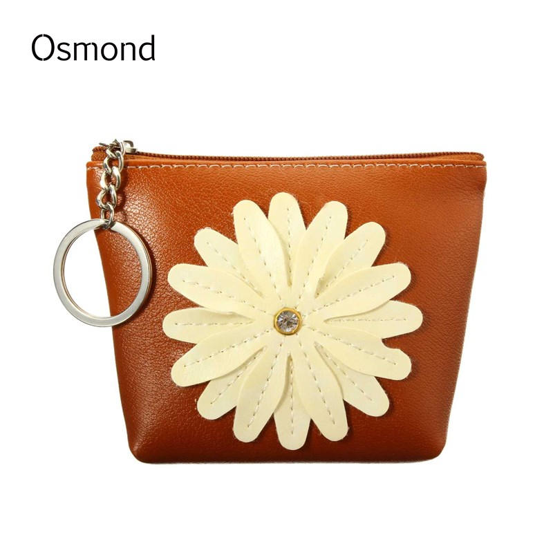 Osmond Flower Coin Wallet Women Change Purse Small Wallets Mini Key Storage Bag Children Gift PU Leather Lady Coins Purses 2016 coin bag creative flower women coin purses fresh syle key wallets canvas girls child gift wallets small purse b0234