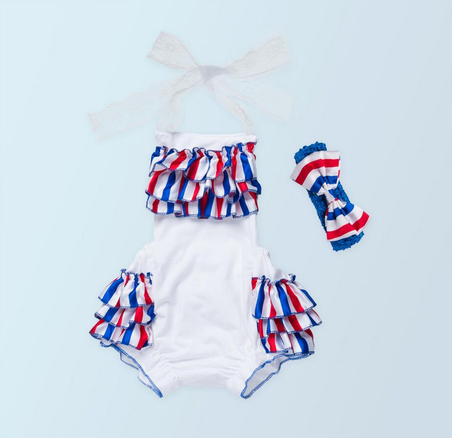 2PC Baby Girl Satin Cotton Blue Red White Striped Lace Romper Summer Cool Clothes Infant Newborn Girl Clothes with Bow Headband 3pcs set newborn infant baby boy girl clothes 2017 summer short sleeve leopard floral romper bodysuit headband shoes outfits