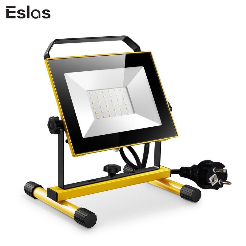 Eslas LED Outdoor Work Light Floodlight AC 220V-240V Portable Lamp LED Work Light IP65 Waterproof For Garage Lantern Spotlight